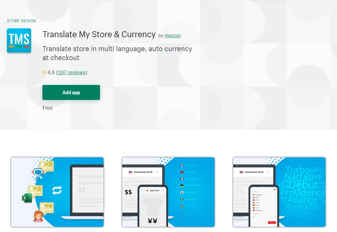 shopify Translate My Store & Currency